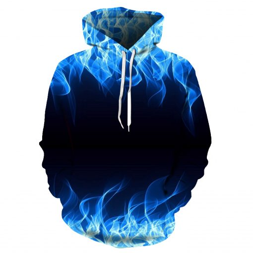 2019 Blue Red 3D Flame Hoodie Collection